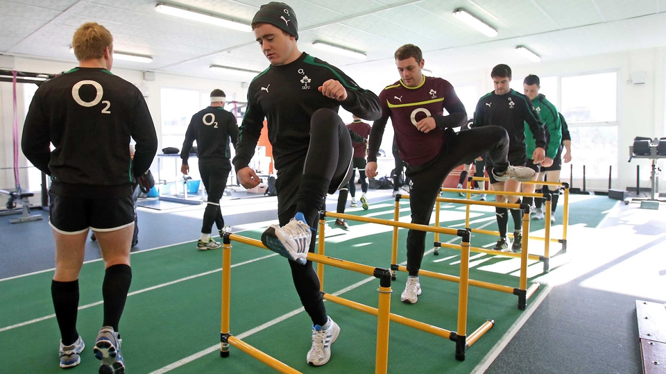 Irish rugby squad training ahead of their game with Scotland