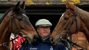 Paul Nicholls with the Cheltenham bound Zarkander (L) and Silviniaco Conti during a stable visit to Manor Farm Stables
