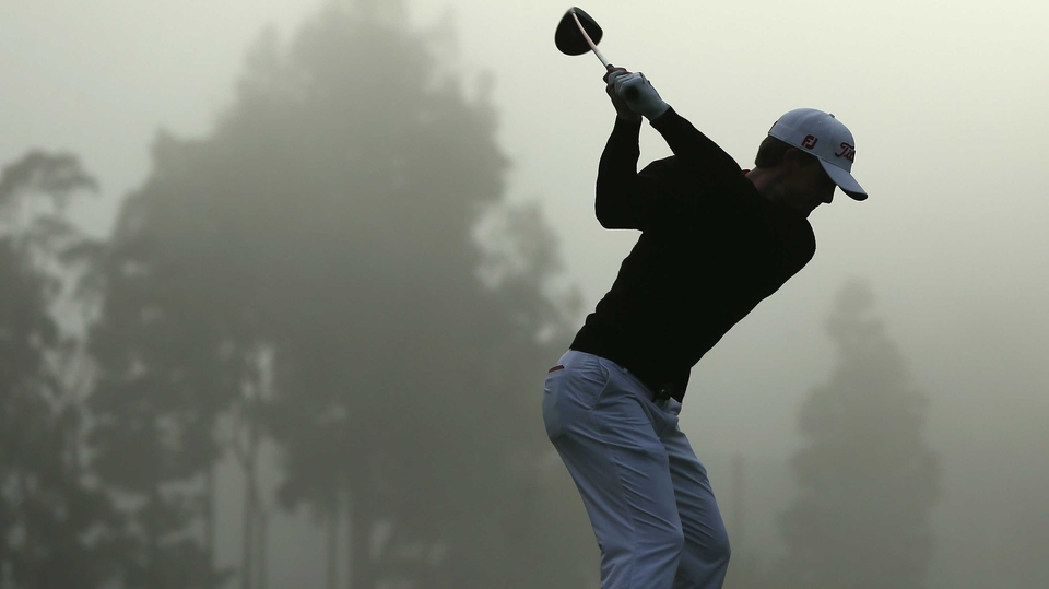 Blayne Barber hits a tee shot during the first round of the Northern Trust Open at Riviera Country Club in Pacific Palisad