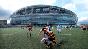 Action from the Lansdowne v Garryowen match in the Ulster Bank League