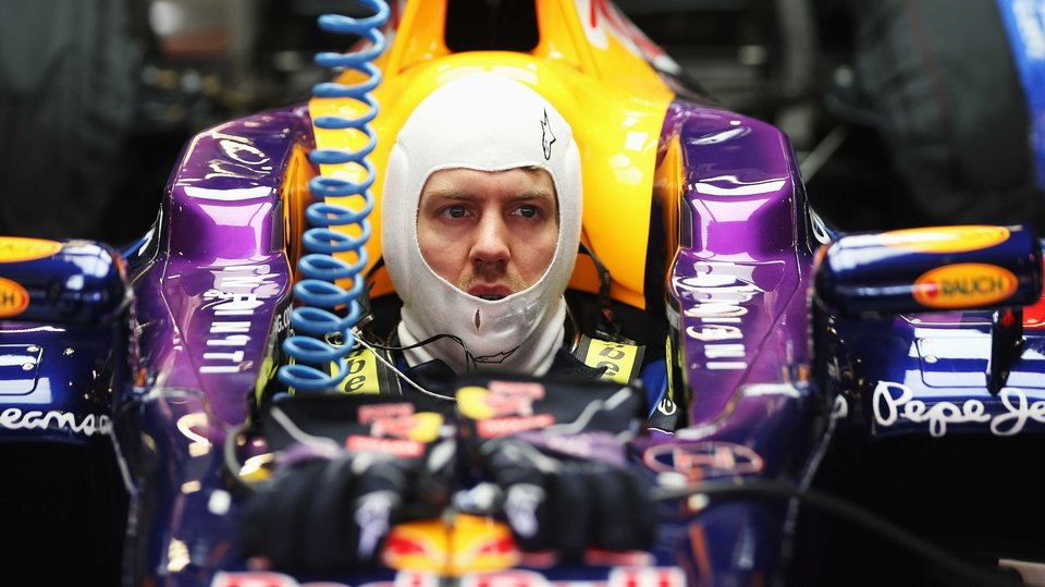 Sebastian Vettel of Red Bull Racing in his car during day one of F1 testing at Circuit de Catalunya