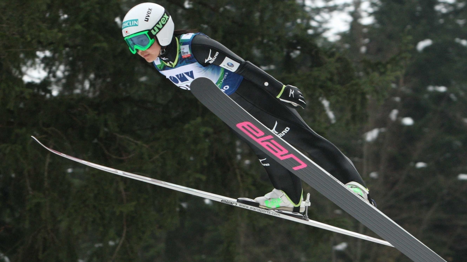 Sara Takanashi of Japan jumps during the FIS Women's Ski Jumping in Ljubno ob Savinji, Slovenia