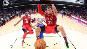 Blake Griffin of the Los Angeles Clippers and the Western Conference dunks the ball during the 2013 NBA All-Star game at the Toyota Center