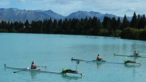 The Women's Club 1X semifinal starts during day three of the New Zealand Rowing Championships at Lake Ruataniwha in Wellington, New Zealand