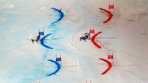 Marcel Hirscher of Austria and Sweden's Mattias Hargin in action during the Alpine FIS Ski World Championships