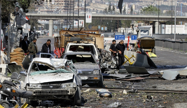 Explosion targeted a busy highway in central Damascus