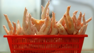Chicken feet are displayed for sale at the Singapore Chinatown Complex Wet Market in Singapore
