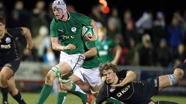Gavin Thornbury makes a break for the Irish