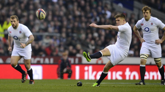 Owen Farrell lands a penalty kick for England