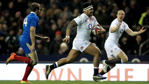 Tuilagi breaks to score the try which gave England the momentum to beat France