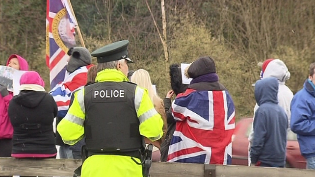 40 people protested outside the PSNI headquarters at Knock on the outskirts of Belfast this afternoon
