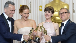 Daniel Day-Lewis wins his third Oscar as best actor with (L-R) best actress Jennifer Lawrence, Anne Hathaway best supporting actress and best supporting actor Christoph Waltz