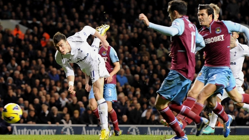 Bale scoring for Spurs against West Ham earlier this season. 'I wouldn't want to suggest that Tottenham are a one-player team,' says Matthew Taylor