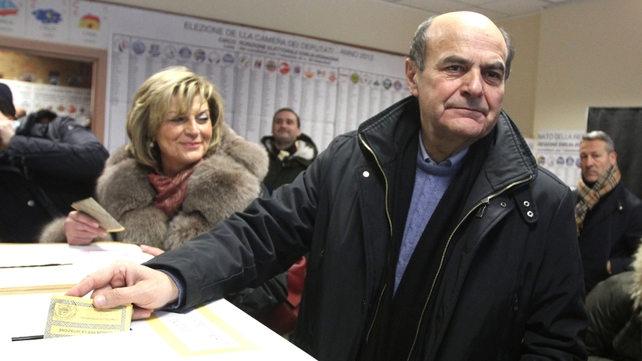 Pier Luigi Bersani's centre-left coalition appeared to be leading in early exit polls