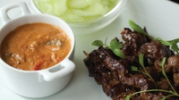 Beef satay with pickled cucumber - Another one of my family favourites. I have my eldest brother Kenneth to thank for this recipe, which he always makes for a family gathering. It works equally well with chicken or pork and is great cooked on the barbecue