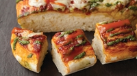 Pizza bread - Children and adults love this pizza bread that we serve in the restaurant. It's also great for a barbecue and is just that little bit different. Feel free to vary the toppings depending on what you fancy
