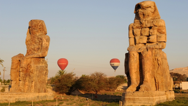 A 2008 picture shows hot air balloons flying over the ancient temple city of Luxor