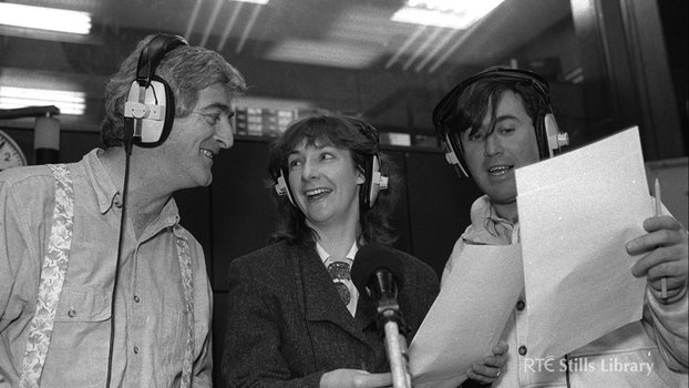 Dermot Morgan, Pauline McLynn and Gerry Stembridge