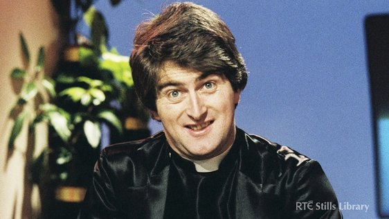 Dermot Morgan as 'Father Trendy' on 'The Live Mike'.