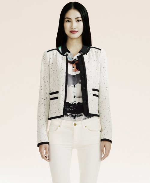 White bouclé jacket €175 Oui at House of Fraser