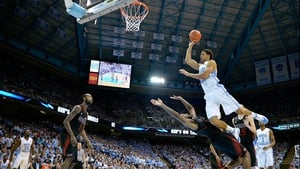 James Michael McAdoo of the North Carolina Tar Heels takes flight at the Dean Smith Center in North Carolina