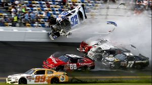 The finish of the NASCAR Nationwide Series DRIVE4COPD 300 at Daytona International Speedway in Florida ends in chaos