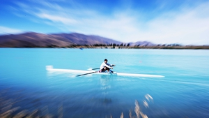 Henry Poor warms up during the New Zealand Rowing Championships at Lake Ruataniwha in Wellington