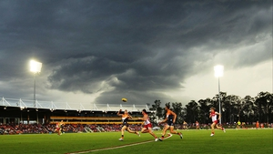 A general view of the AFL NAB Cup match between the Greater Western Sydney Giants and the Sydney Swans