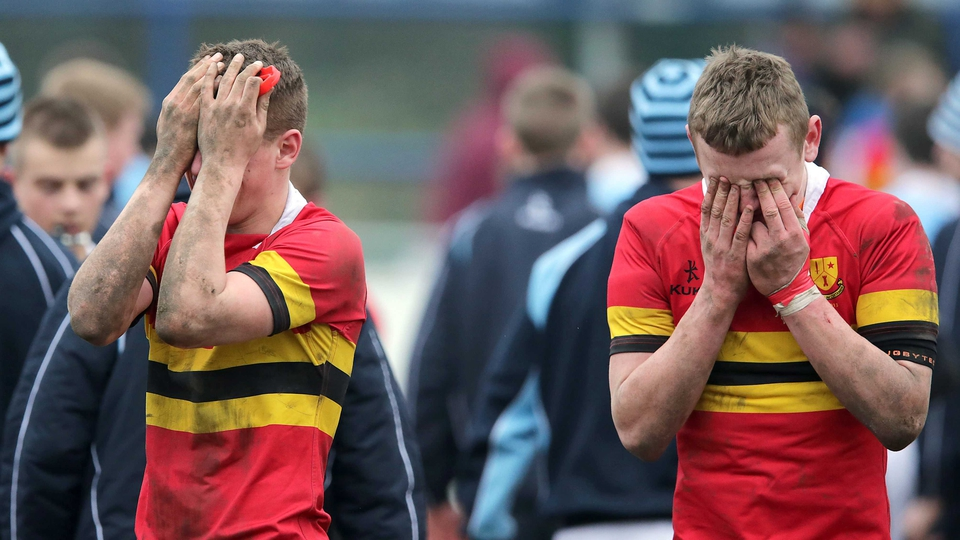 CBC Monkstown's Dan Casey and William Fay after their Leinster Schools Junior Cup loss to St Michael's