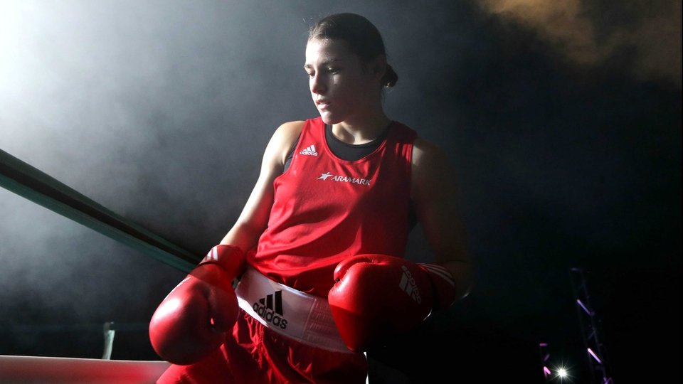 Katie Taylor steps back into the ring for the first time since becoming Olympic champion