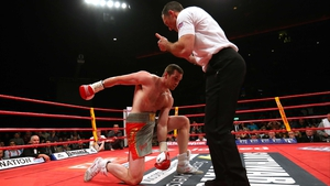 David Price is knocked down by Tony Thompson during their International Heavyweight fight in Liverpool