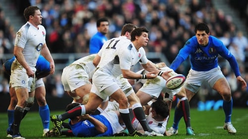 Young in action for England against the Azzurri in last year's Six Nations