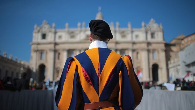 The Swiss Guards will also stand down at 7pm Irish time