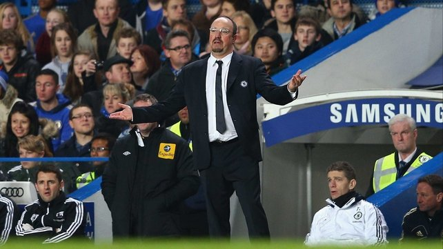 Rafael Benitez is short of support at Stamford Bridge these days
