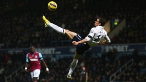 Tottenham Hotspur's Gareth Bale performs an overhead kick during the Premier League game against West Ham United