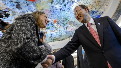 Ban Ki-moon said he would meet envoy Lakhdar Brahimi in Switzerland on Saturday for private talks
