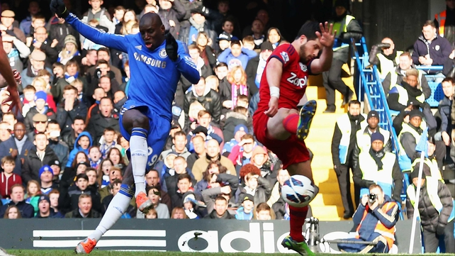 Demba Ba strikes the only goal at Stamford Bridge