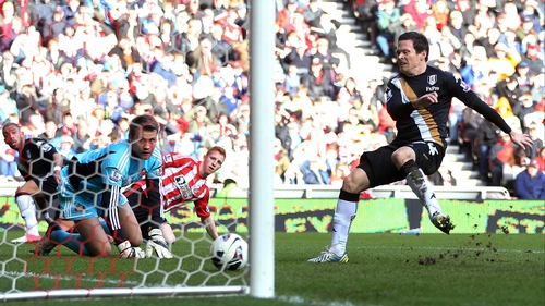 Sasha Riether scores Fulham's second goal at the Stadium of Light