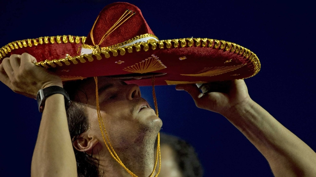 Rafael Nadal wears a traditional Mexican mariachi hat at the trophy presentation