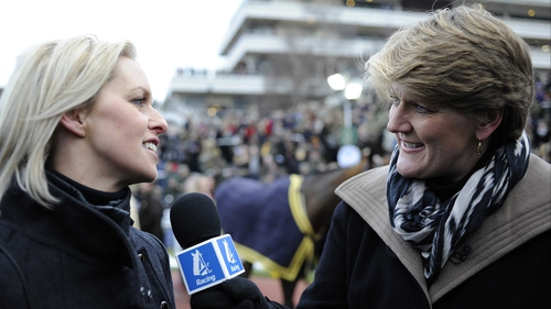 Trainer Rebecca Curtis (left), seen here talking to Clare Balding, is hoping the rain comes in time for At Fishers Cross