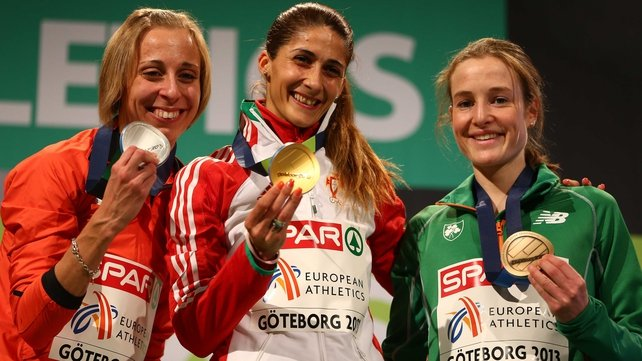 Runner-up Corinna Harrer of Germany, winner Sara Moreira of Portugal and third-placed Fionnuala Britton