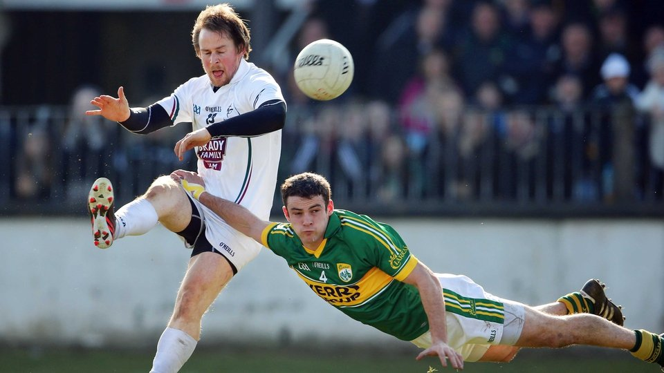Kildare's Seanie Johnston and Shane Enright of Kerry during their Allianz League match in Newbridge