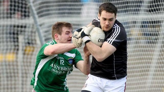 Galway goalkeeper John Egan evades Westmeath's Kieran Martin at Tuam Stadium