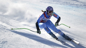 Tina Maze finished fourth in Sunday's Super-G event in Germany