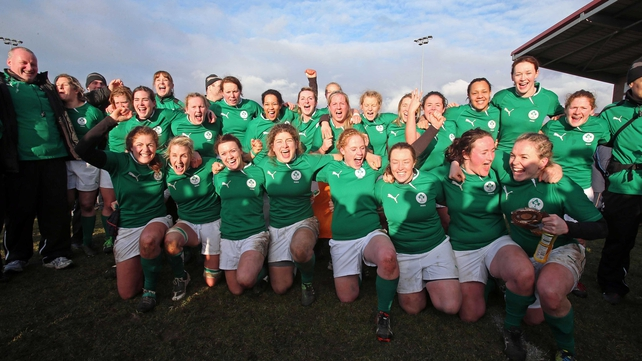 The Irish women celebrate their victory over Scotland