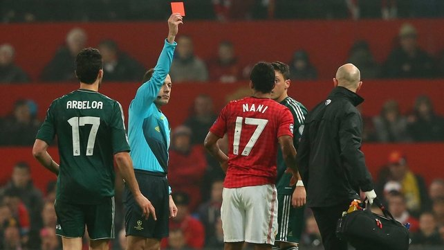 Nani gets his marching orders during the second leg against Real Madrid