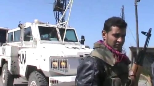 Footage posted on the internet showed rebels standing around UN vehicles