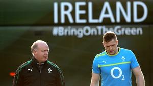 Declan Kidney feels Brian O'Driscoll helps Jamie Heaslip on the pitch
