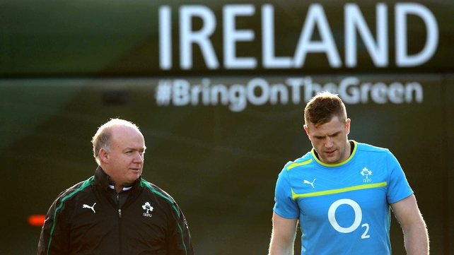 Declan Kidney feels Brian O'Driscoll helps Jamie Heaslip on the pitch