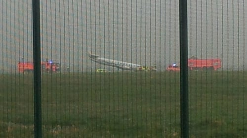 The plane's nose gear collapsed on main runway at Dublin airport (Pic: Gerry Dungan)
